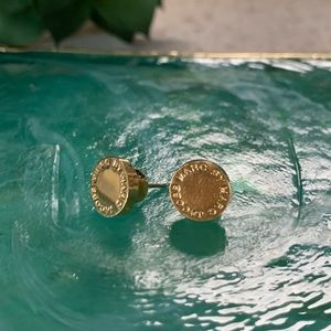 Marc Jacobs Logo Disc Gold Stud Earrings